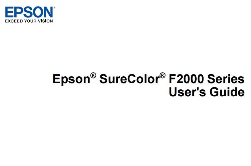 Free PDF Manual Service Program for Epson SureColor  Series SC-SC-F2000