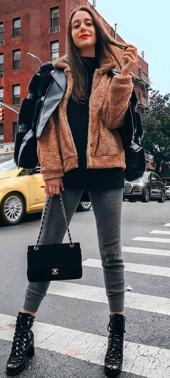 cool outfit idea_black jacket + nude sweatshirt + sweater + bag + grey skinnies + boots