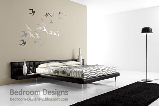 Simple Master Bedroom Designs With Creative Wall Paintings And Stand Alone Lampshades