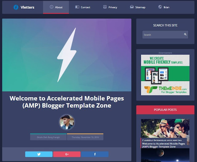 Vletters Free Responsive AMP Blogger Template