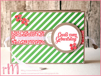 Stampin' Up! rosa Mädchen Kulmbach: Ziehkarte zum Geburtstag mit Framelits Stickmuster, Grußelemente, Dein Tag und Itty Bitty Akzente
