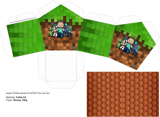 Minecraft Free Printable House Shaped Box.