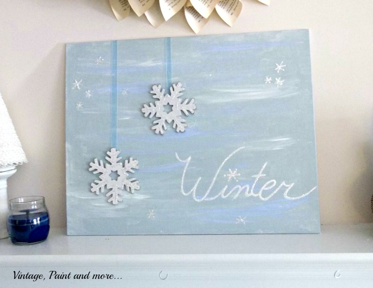 Vintage, Paint and more... DIY painted winter canvas
