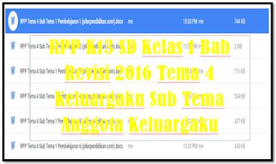 RPP Kurikulum 2013 SD Kelas 1 Revisi 2017 Tema 4 Sub Tema 1 Lengkap