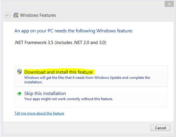 download enable install .net framework 3.5 on windows 8 as online