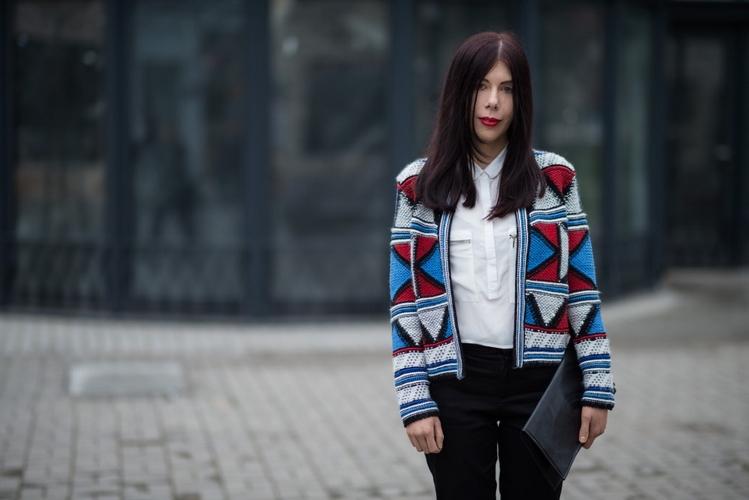 wełniany żakiet w geometryczne wzory | wełniany żakiet H&M | kolorowy wełniany żakiet | łódzka blogerka | elegancka stylizacja z kolorowym żakietem | Łódź | blog szafiarski | blog modowy