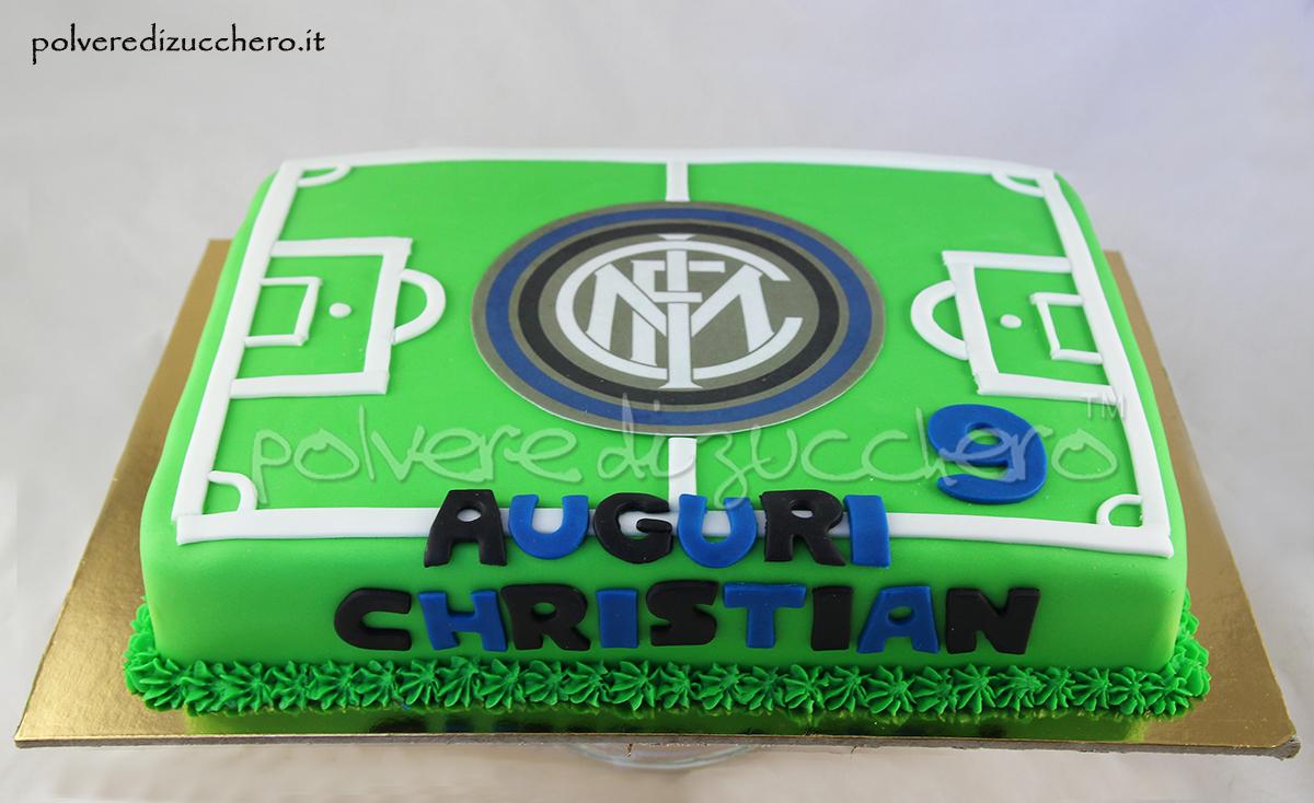 torta decorataya pasta diz ucchero campo da calcio inter scudetto inter compleanno cake design polvere di zucchero