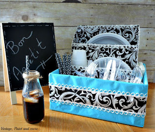 Vintage, Paint and more... Dish organizer diy'd from boxes for a dorm
