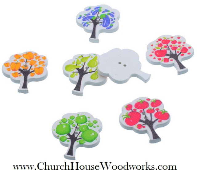 Fruit Tree Wood Buttons by Church House Woodworks- Pepper, Apple, Tomato Pear Eggplant Garden Vegetables Fruit Trees