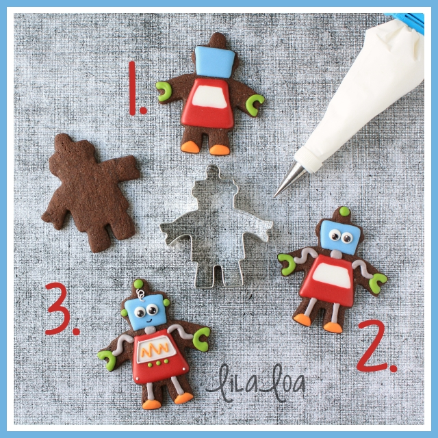 Decorated sugar cookies that look like robots ~ tutorial