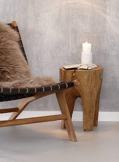 Diseño de silla de piel con madera con estilo rústico