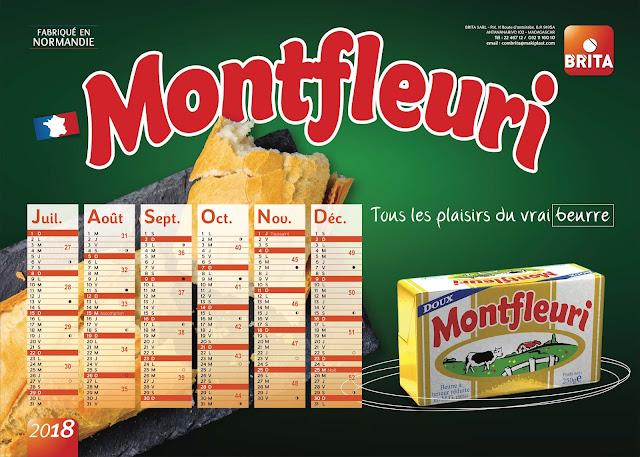 création calendrier plateau beurre Monfleuri 2018, verso