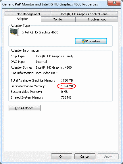 Intel HD Graphics Dedicated Video Memory