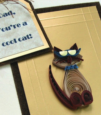handmade quilled cat Father's Day card