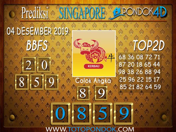 Prediksi Togel SINGAPORE PONDOK4D 04 DESEMBER 2019