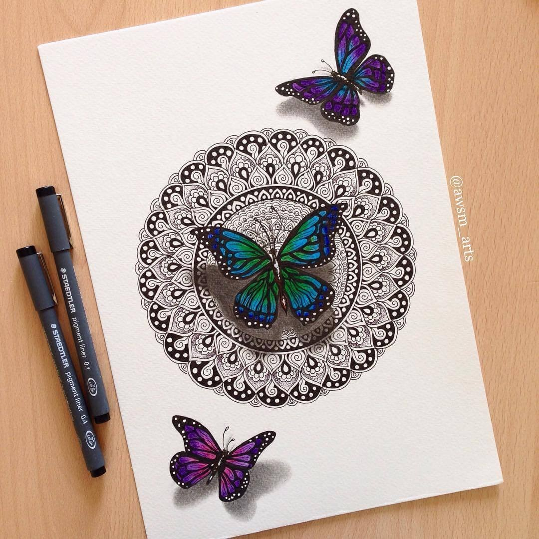 01-Butterflies-Moleskine-Mandalas-Drawings-and-More-www-designstack-co
