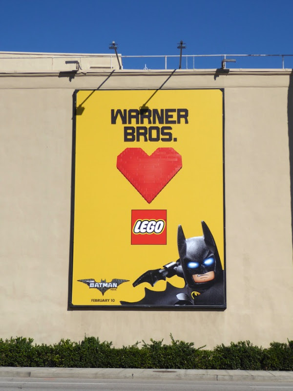 Warner Bros hearts Lego billboard WB Studios Burbank