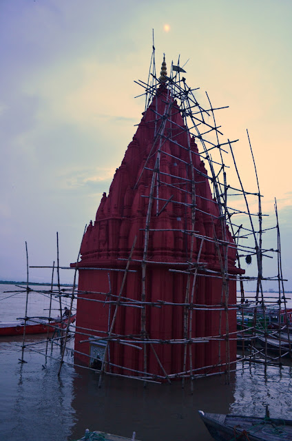 A Temple submerged by River Ganga, Dashashwamedh Ghat, Varanasi