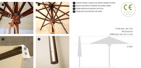 accesorios parasoles madera serie gold extra