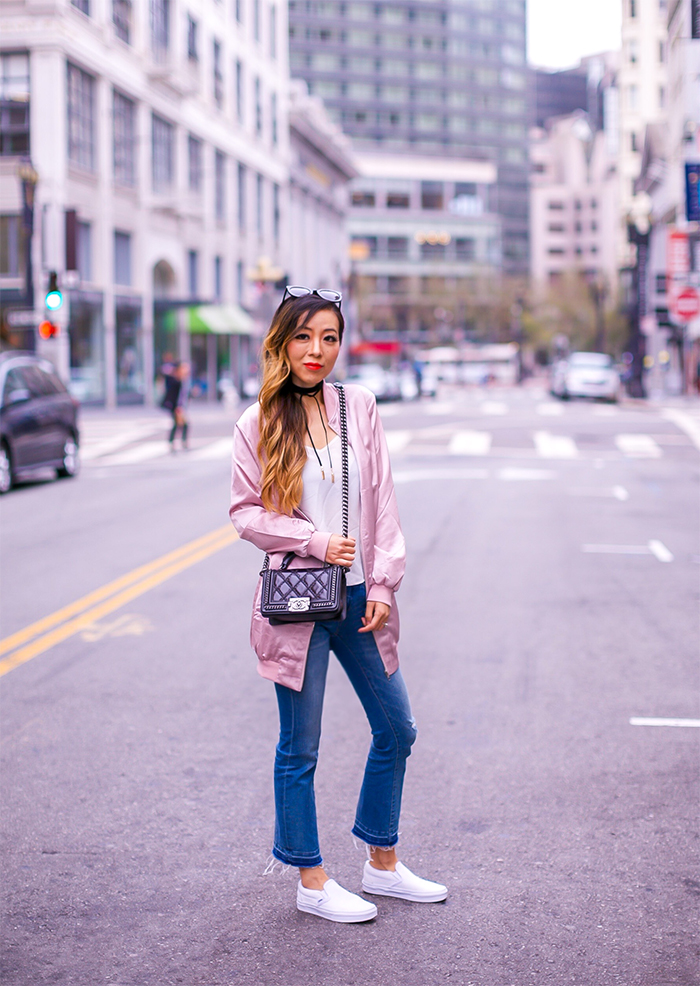 misguided pink satin bomber jacket, pink bomber jacket, style tip, fall fashion, fall essential, chanel boy bag, blank denim jeans, vans slip on, baublebar choker, asos cami, karen walker super duper sunglasses, san francisco street style, san francisco style blog, fall outfit ideas