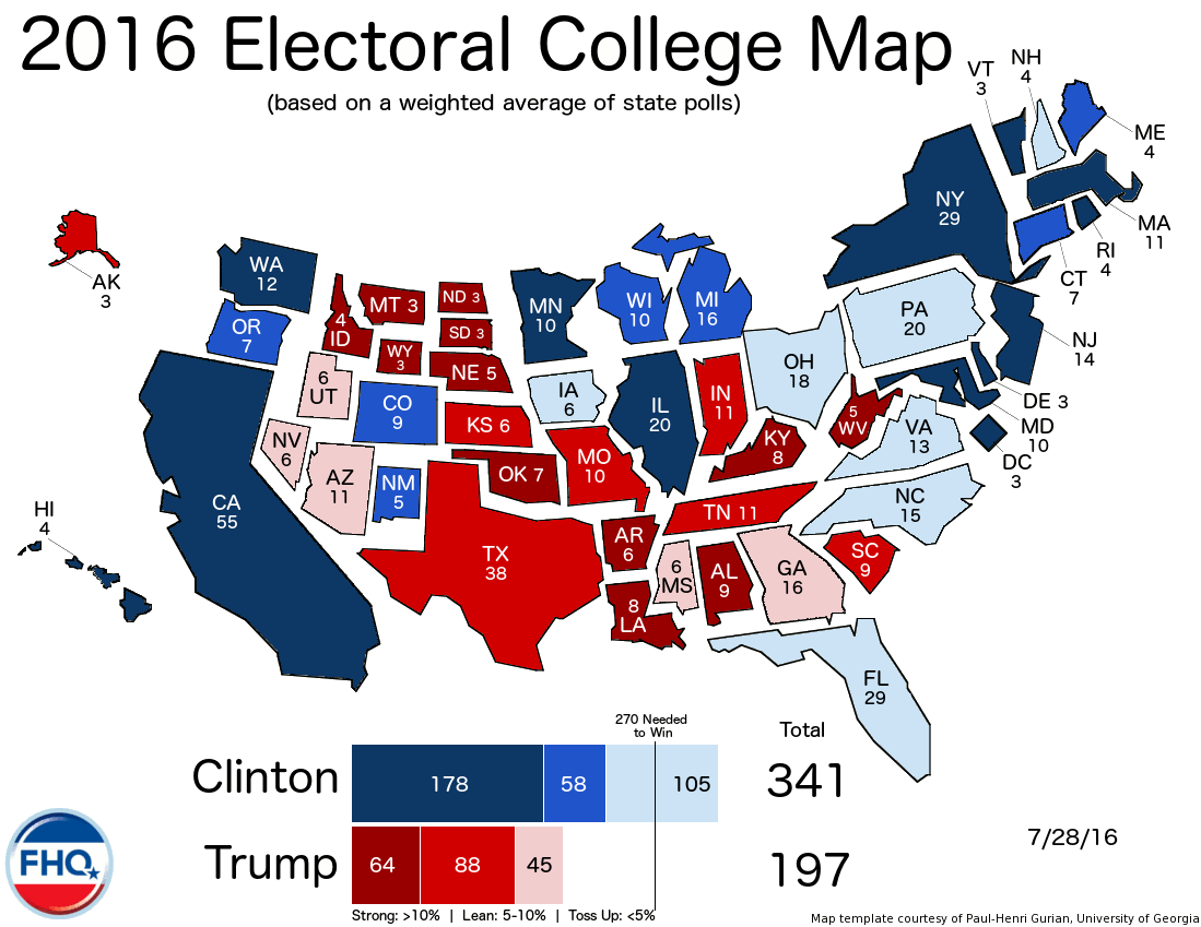 Frontloading HQ The Electoral College Map 72816 - Us Map Polls Blue And Red