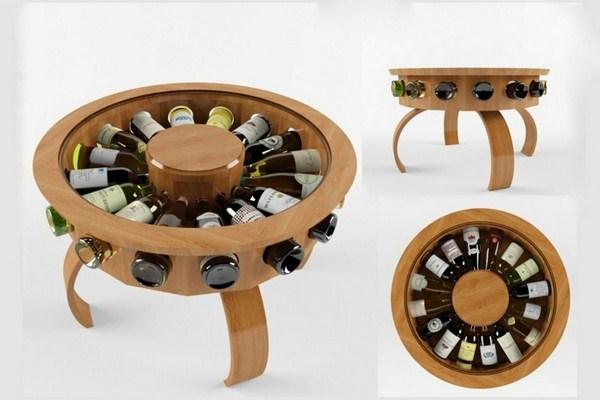 Wine Store Coffee Table Wine Bottle Idea Round Wooden Storage