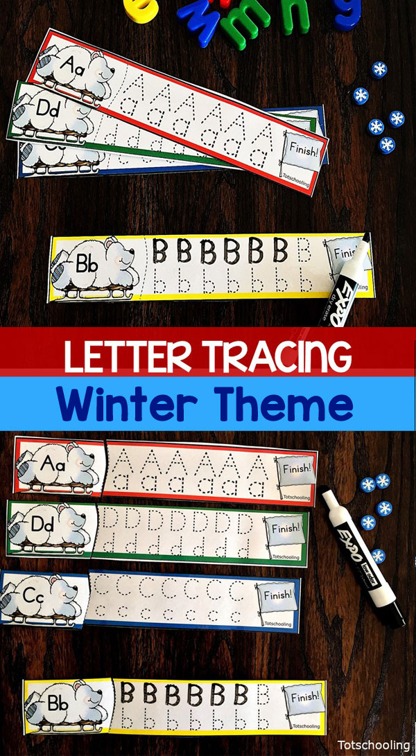 FREE Winter themed alphabet tracing cards with cute polar bears sledding toward the finish line! Great for Pre-K or kindergarten kids to practice letter tracing and handwriting skills! Can be used in a Winter literacy center.