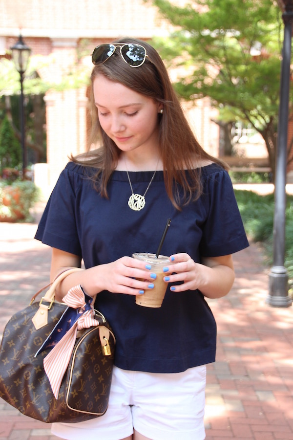 Gimme Glamour: Bloggers who Brunch. Classic/preppy off the shoulder look, Louis Vuitton Speedy 25, monogram necklace