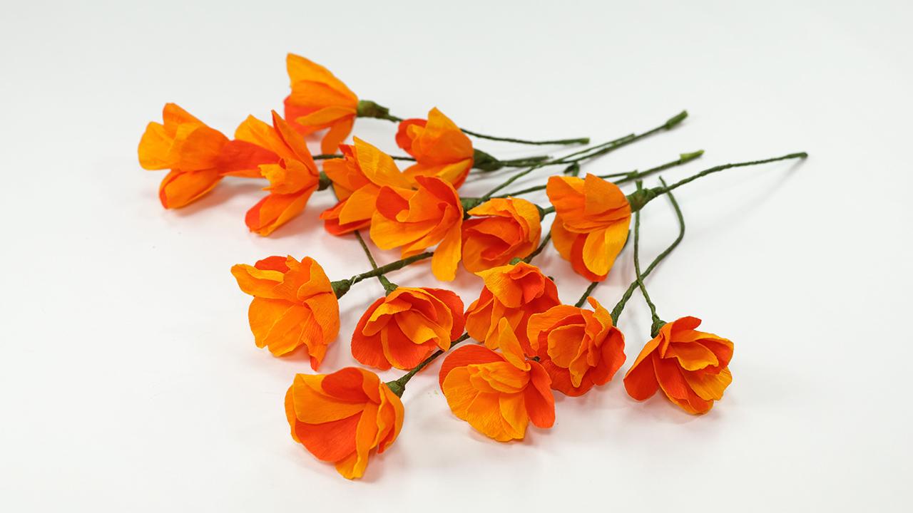 Diy Flower Crafts Diy Orange Poppy Flower Craft Artsy Fartsy