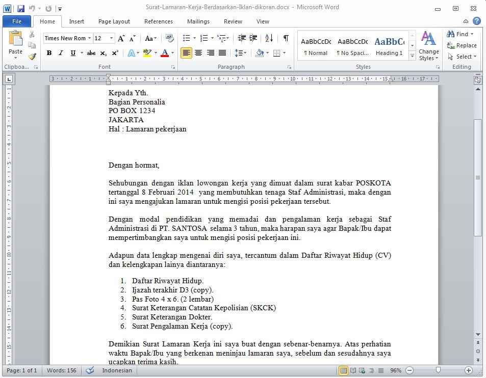 Contoh Surat Lamaran Kerja Berdasarkan Iklan