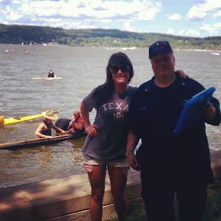 Auxiliarist Bob Daraio with kayaker Nastaran Mohit