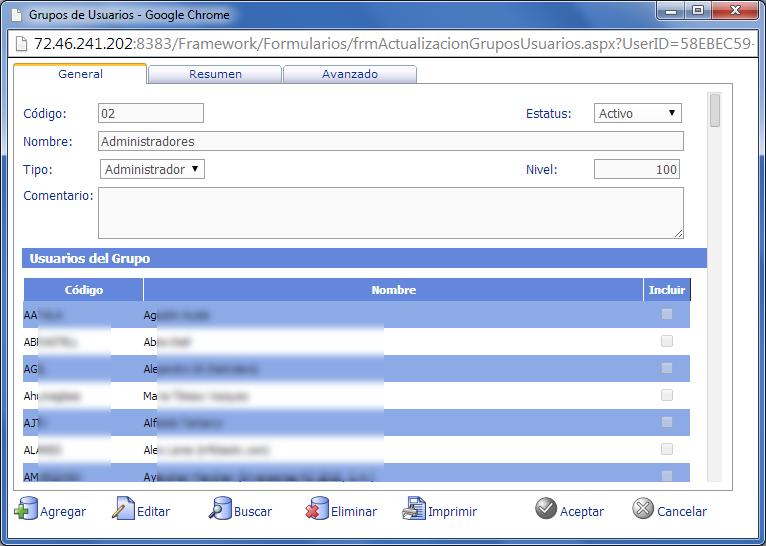 Grupos de Usuarios con Acceso- eFactory Administrativo, Contabilidad, Nómina