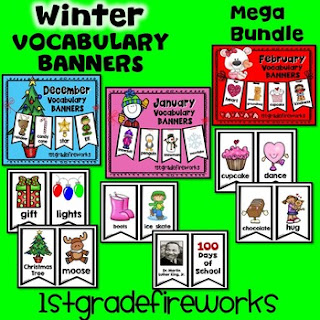 WINTER Vocabulary BANNERS from TpT 1stgradefireworks