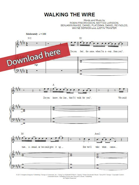 imagine dragons, walking the wire, sheet music, piano notes, chords, download, keyboard, klavier noten, composition, transpose, how to play