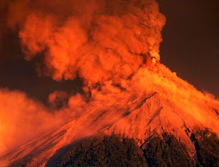 Nearly 4,000 residents fled Guatemala's Volcano of Fire as red-hot rock and ash spewed into the sky and cascaded down the slopes toward an area devastated by a deadly eruption earlier this year.