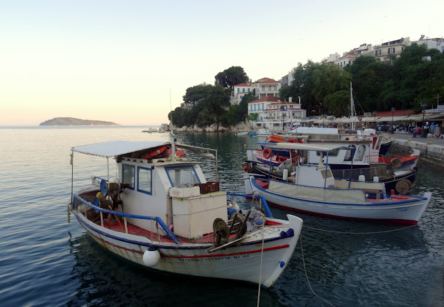 Traditional Greek fishing boats at the Old Port of Skiathos
