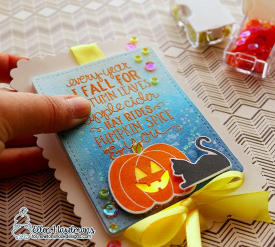 Halloween light up card by Ellen Haxlmans | Fall-ing for You, PIck-a-Pumpkin, & Furr-ever Friends Stamp sets byNewton's Nook Designs with Chibitronics lights | #newtonsnook #chibitronics