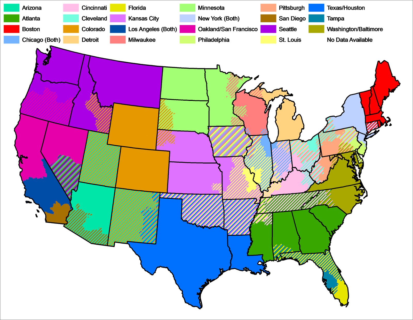 rough regionsl sports network map according to mlb blackout map via wikipedia