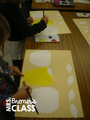 Fall apple art activities with a focus on mixing colors