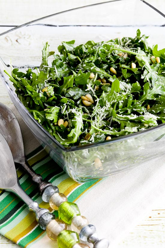 Kalyn's Favorite Baby Arugula Salad with Lemon, Balsamic, Parmesan, and Pine Nuts found on KalynsKitchen.com.