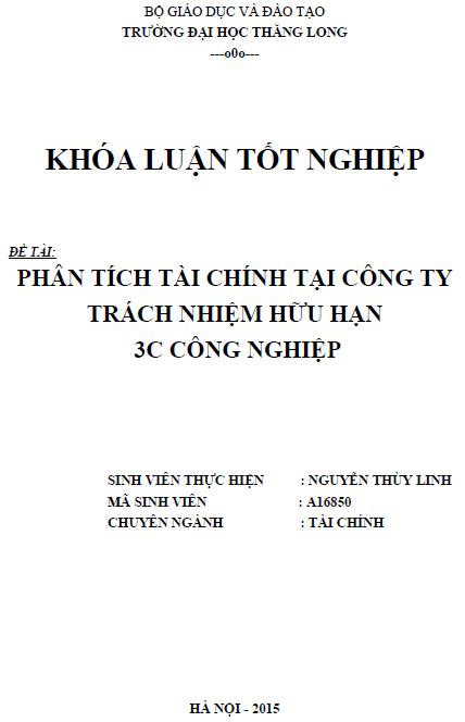 Phân tích tài chính tại Công ty TNHH 3C Công nghiệp