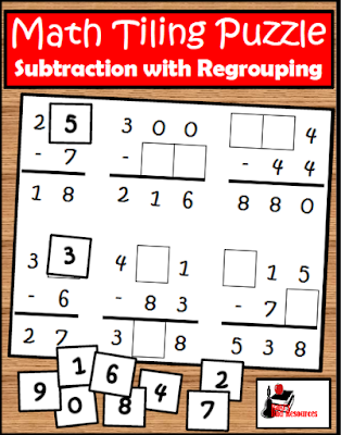 Free subtraction with regrouping tiling puzzle - builds critical thinking skills - from Raki's Rad Resources