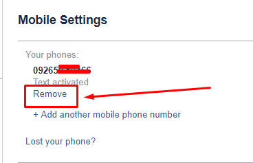 mobile number remove karna hai facebook se