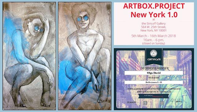 """""""Reflexionen I + II"""" von Olga David bei der Ausstellung in New-York"""
