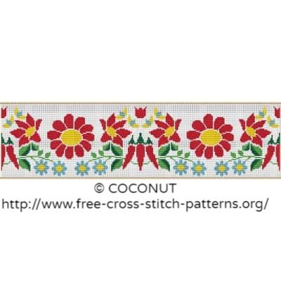 Flower border (5), Free and easy printable cross stitch pattern