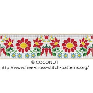 Flower border cross stitch pattern for free