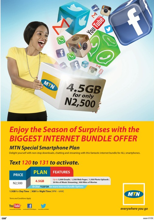 MTN 10GB Data +5000# Airtime For Just 2500#