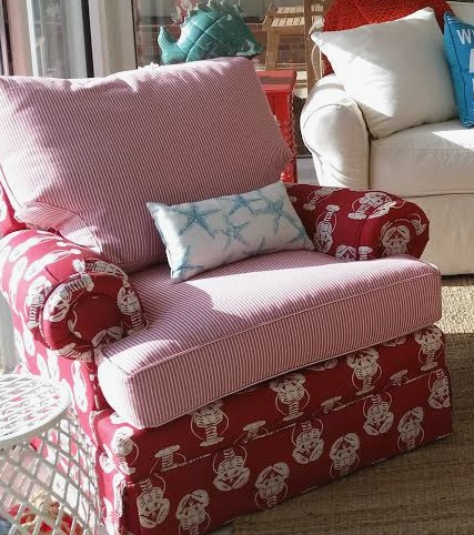Red Lobster Fabric Upholstered Chair