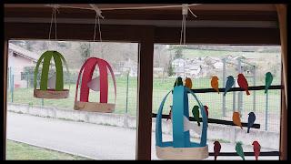 cage à oiseaux décoration thème printemps classe maternelle
