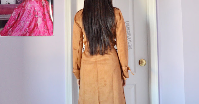 Tea-length longline faux suede camel tan trench coat from Dressystar